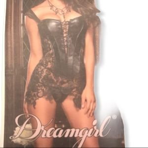 DREAMGIRL FAUX LEATHER LACE BLACK TOP